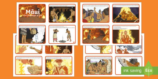 Māui and the Magic of Fire Story Cards - Maui Myths Maori legends, magic, fire, Maui, story cards