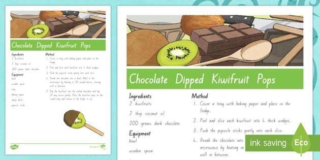 Treaty Treats Chocolate Dipped Kiwifruit Pops Recipe Te Reo Maori / English - Waitangi Day, Treaty of Waitangi, tiriti o waitangi, kiwi, kiwiana, recipes