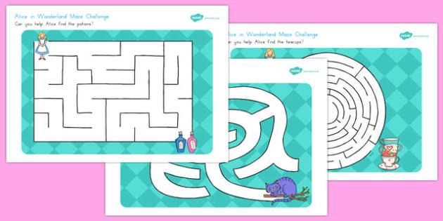 Alice in Wonderland Maze Activity Sheets - australia, alice in wonderland, worksheet
