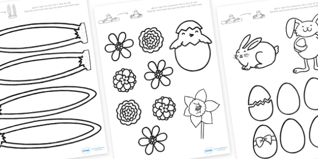 Easter Bonnet Colouring Accessories (Black and White) - easter bonnet colouring accessories, easter bonnet accessories, colour your own easter bonnet accessories, easter headband, easter bonnet cut out accessories, easter bonnet accessories, easter b