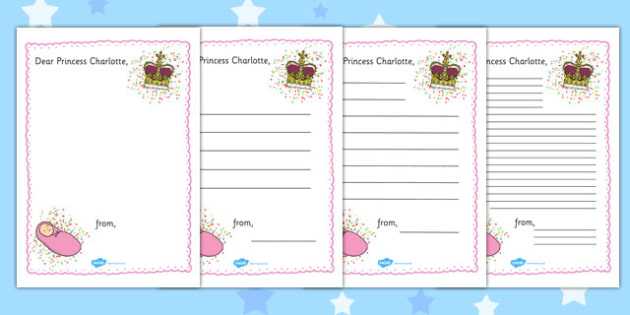 Letter to Princess Charlotte Template - princess, charlotte