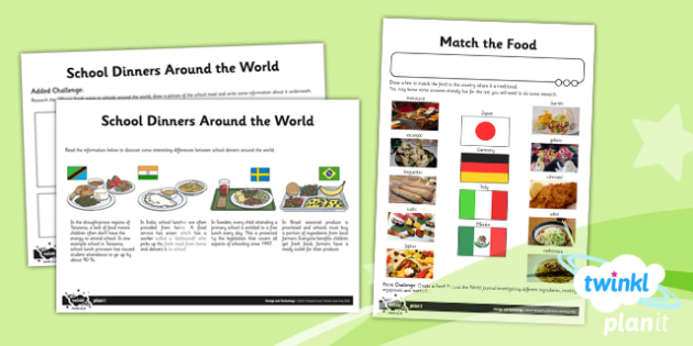 D&T: Global Food UKS2 Unit Home Learning Tasks