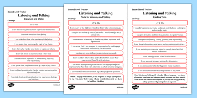CfE Literacy and English (Listening and Talking) Second Level Child Friendly Tracking-Scottish