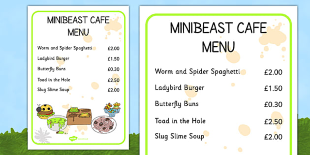Minibeast Cafe Menu - minibeast, cafe