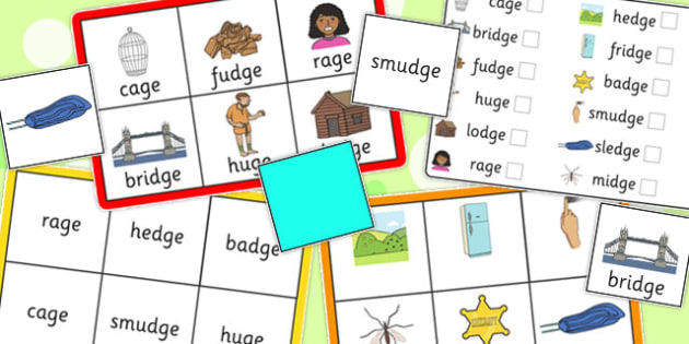 Final 'J' Sound Bingo - final j, sound, bingo, game, activity