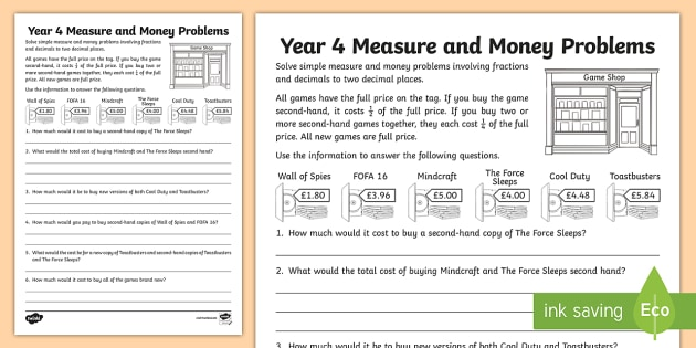 Year 4 Fractions of Money Problems Activity Sheet - Learning from Home Maths Workbooks, fractions, 2 decimal places, fraction problems, real life proble