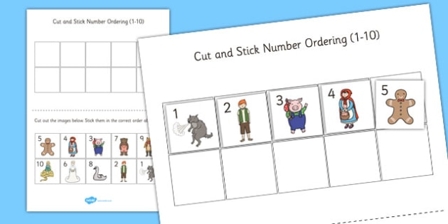 Traditional Tales Themed Cut Stick Number Ordering Sheets 1-10