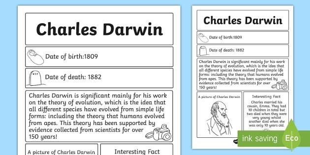 Charles Darwin Significant Individual Fact Sheet - fact, sheet
