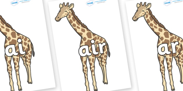Phase 3 Phonemes on Giraffe - Phonemes, phoneme, Phase 3, Phase three, Foundation, Literacy, Letters and Sounds, DfES, display