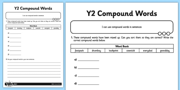 Compound Words Application Activity Sheet - GPS, spelling, grammar, compound words, worksheet