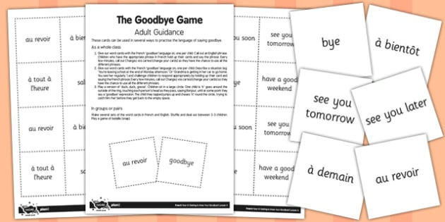 French Goodbye Game Cards - french, goodbye, game, cards, bye
