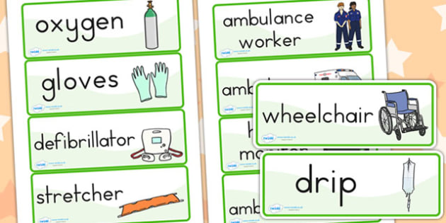 Ambulance Worker Word Cards - hospital role play, roleplay, cards