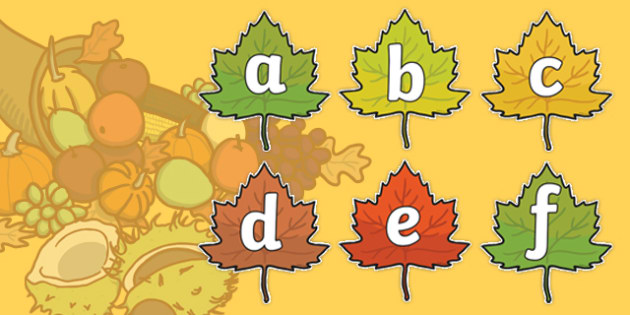 A-Z Alphabet on Autumn Leaves - Autumn, seasons,  A4, display, Alphabet frieze, Display letters, Letter posters, A-Z letters, Alphabet flashcards, autumn pictures, autumn display, leaves, acorn, conker, atumn