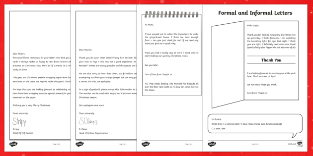 Formal and Informal Christmas Letters Activity Sheets - Christmas, Nativity, Jesus, xmas, Xmas, Father Christmas, Santa, St Nic, Saint Nicholas, traditions,