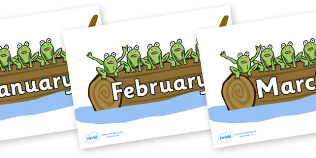 Months of the Year on Five Speckled Frogs - Months of the Year, Months poster, Months display, display, poster, frieze, Months, month, January, February, March, April, May, June, July, August, September