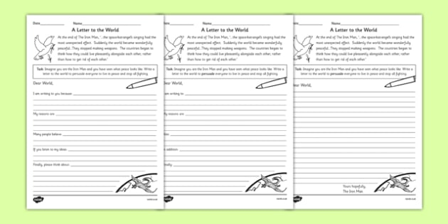 The Iron Mans Letter to the World Differentiated Worksheets