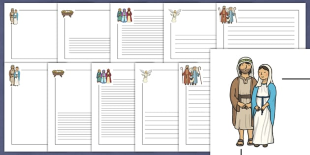 Nativity Page Borders - Nativity, Page border, border, Christmas Story, xmas, word card, flashcards, Mary, Joseph, Jesus, shepherd, wise men, Herod, angel, donkey, stable, Gabriel, First Christmas,Inn, Star, God