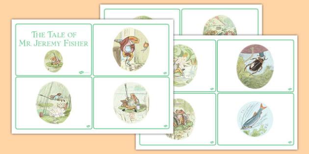 The Tale of Mr Jeremy Fisher Story Sequencing Cards - beatrix potter, traditional, tale, frog, fun, story, retell, sequence, order, structure, english, writing, reading, ks1, key stage 1, early years,