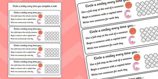 Sentence Writing Check Cards - sentence writing aid, sentence writing self assessment, self assessment cards, self assessment sentence writing check list