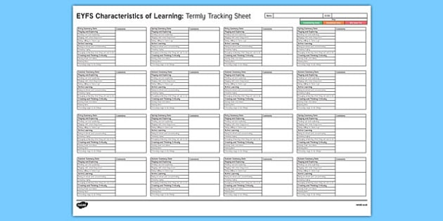 EYFS Characteristics Of Learning Termly Tracking Sheet - eyfs, coel,