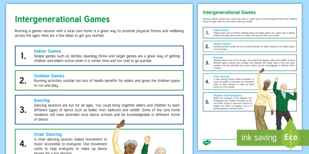 Intergenerational Games Teaching Ideas - Intergenerational Ideas, Physical Activity, Games, Indoor, Outdoor, Olympics, Paralympics, Support,