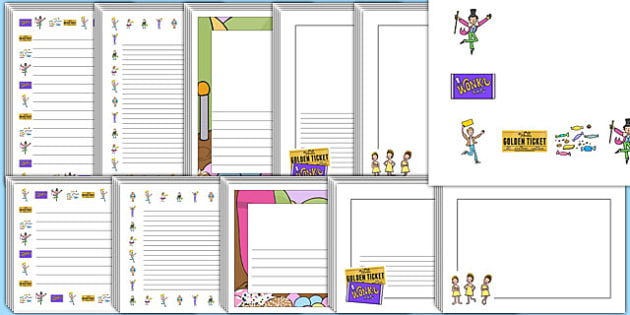Page Borders to Support Teaching on Charlie and the Chocolate Factory - Charlie and the chocolate factory, charlie and the chocolate factory page borders, page borders