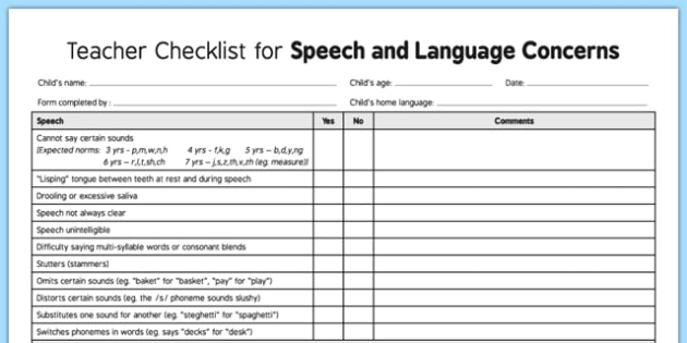 Speech and Language Concerns Checklist