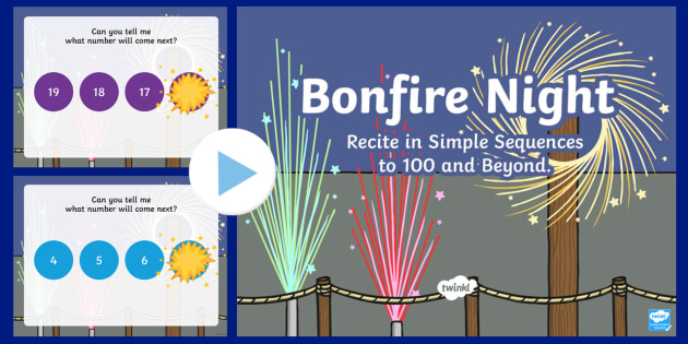 Bonfire Night Themed Year 2 Numeracy PowerPoint - Bonfire Night, Recite, Simple Sequences,Year 2, Numeracy, Welsh,