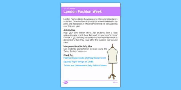 Elderly Care Calendar Planning September 2016 London Fashion Week - Elderly Care, Calendar Planning, Care Homes, Activity Co-ordinators, Support, September 2016