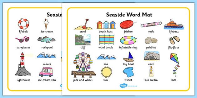 Seaside Word Mats - Writing aid, Under the sea, sea, seaside, topic, water, tide, waves, sand, beach, sea, sun, holiday, coast