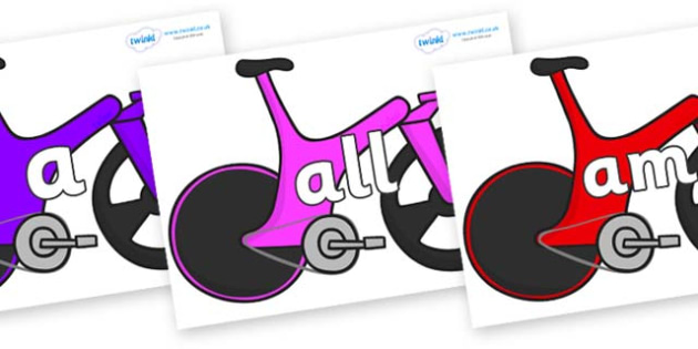 Foundation Stage 2 Keywords on Bikes - FS2, CLL, keywords, Communication language and literacy,  Display, Key words, high frequency words, foundation stage literacy, DfES Letters and Sounds, Letters and Sounds, spelling