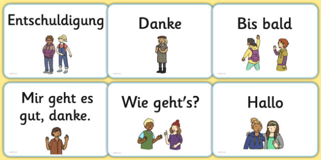 Greetings A5 Flashcards German - german, greetings, a5, flashcards, flash cards