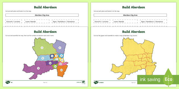Local Authority Map Jigsaw - Aberdeen City Map - Social Studies, map, geography, Scotland, local authority, Aberdeen city, people place and environme