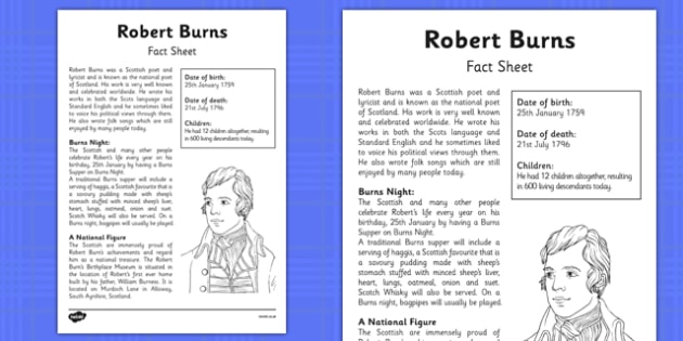 Robert Burns Factfile - robert burns, scottish, poetry, poet, scots, celebration