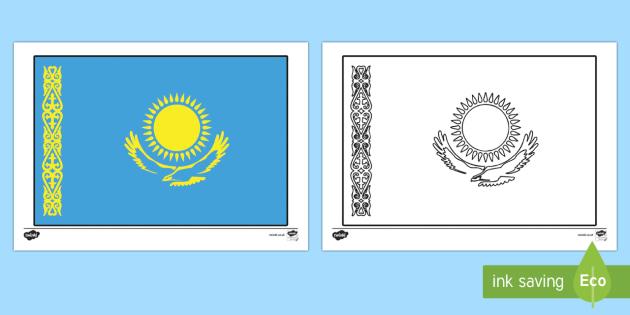 Flags of Kazakhstan Colouring Sheet - flag, flags, kazakhstan, kazakhstan flag, colour, colouring, activity
