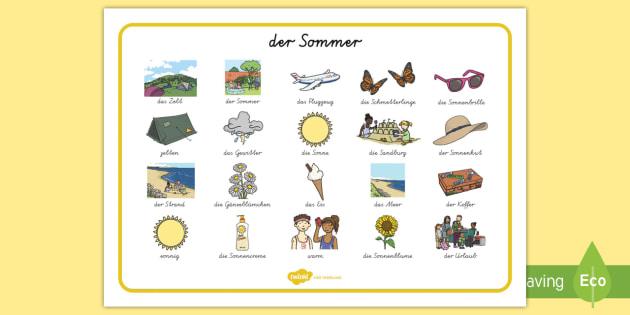 der Sommer Summer Word Mat Images German - german, Summer, holidays, word mat, writing aid, holiday, holidays, seasons, beach, sun, flowers, ice cream, sea, seaside