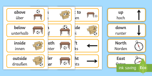 Positional Language Word Cards - English/German - Positional Language Word Cards - Postion, Positional, Positional Language, Position Words, EAL, Germ
