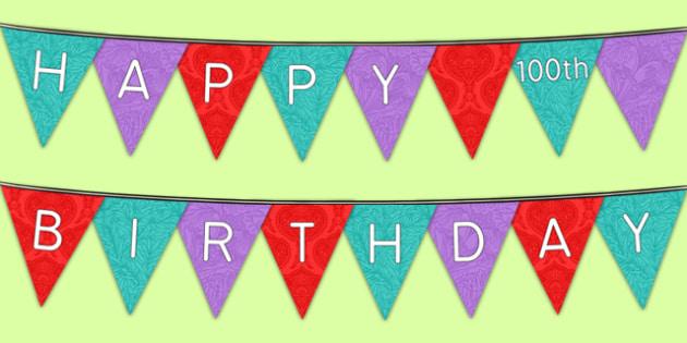 Happy 100th Birthday Bunting - 100th birthday party, 100th birthday, birthday party, bunting