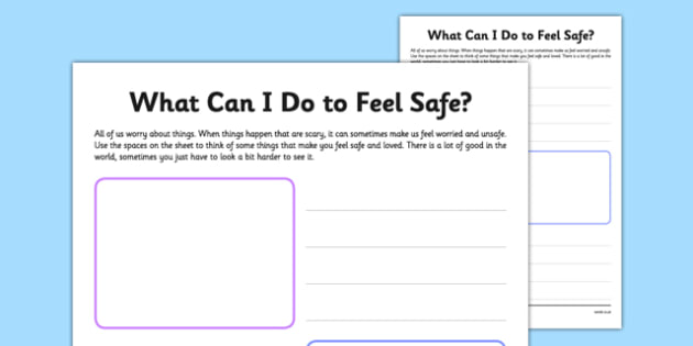 What Can I Do to Feel Safe Worksheet - what, do, feel, safe, worksheet, terrorist, terrorism, extremism,