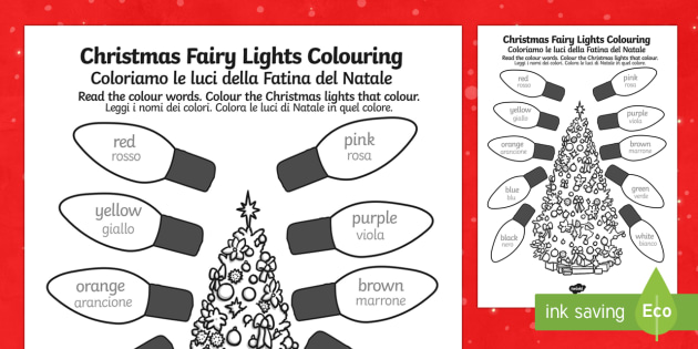 Christmas Fairy lights Colouring Sheet English/Italian - Christmas Fairy Lights Colouring Sheet - christmas, colouring, christmas colourig, colering, chritma
