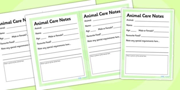 Noah's Ark Role Play Animal Care Notes - Noah's ark, roleplay, note