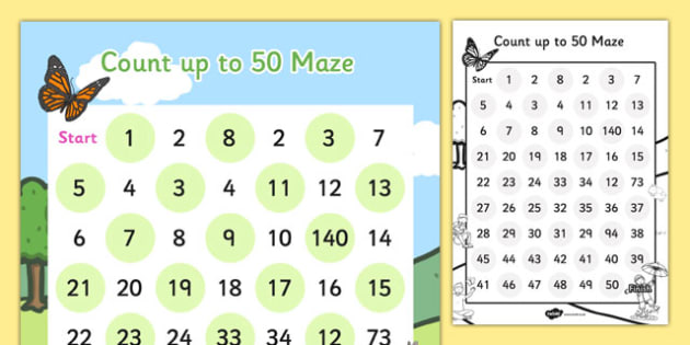 Counting up to 50 Maze Activity Sheet - counting, maze, activity, worksheet
