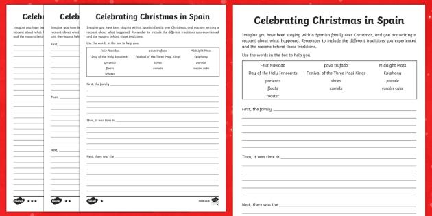 KS2 Celebrating Christmas in Spain Differentiated Writing Frames - Christmas, Nativity, Jesus, xmas, Xmas, Father Christmas, Santa, St Nic, Saint Nicholas, traditions,