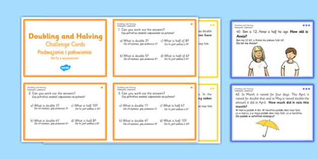 Doubling and Halving Challenge Cards Polish Translation - polish, double, math, numeracy