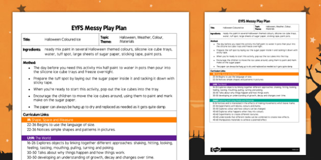 Messy Play Recipe Card Halloween Coloured Ice - messy play