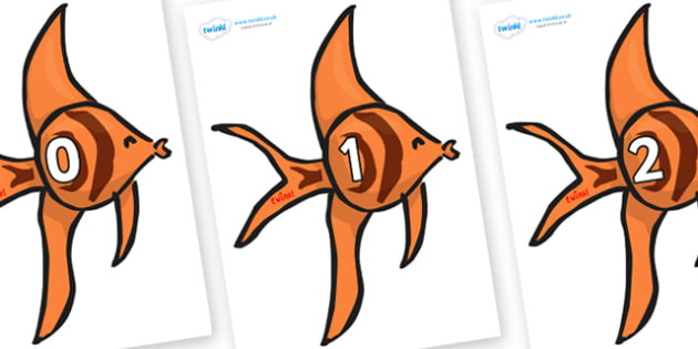 Numbers 0-100 on Angel Fish - 0-100, foundation stage numeracy, Number recognition, Number flashcards, counting, number frieze, Display numbers, number posters