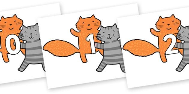 Numbers 0-100 on Cats to Support Teaching on What the Ladybird Heard - 0-100, foundation stage numeracy, Number recognition, Number flashcards, counting, number frieze, Display numbers, number posters