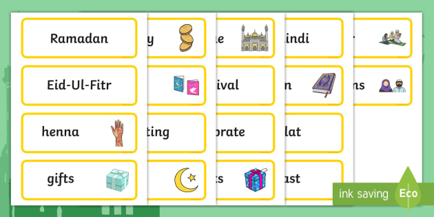 Eid Topic Word Cards - Eid, festival, celebration, Islam, muslim, word cards, flashcards, Eid, Eid-Ul-Fitr, Quran, Salat, henna, fasting