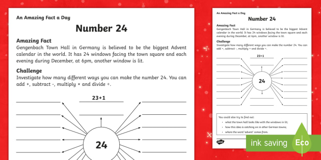 Number 24 Activity Sheet - Amazing Fact Of The Day, activity sheets, powerpoint, starter, morning activity, December, addition,