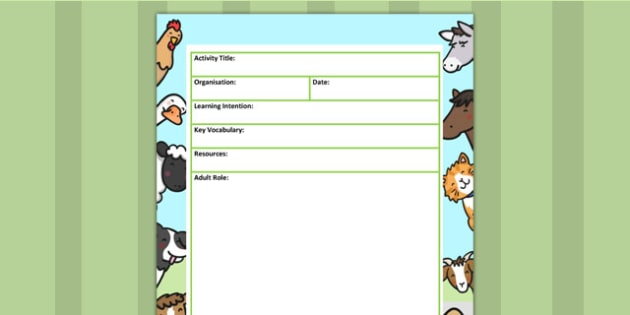 Farm Themed Adult Led Carpet Based Activity Planning Template